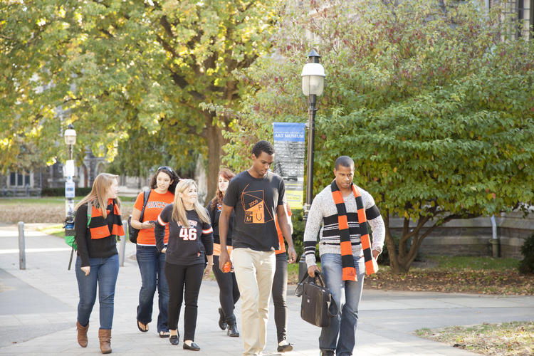 Group of Princeton students walking on campus